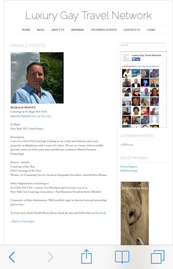 LGTNetwork welcomes Harald Mottz Concierge at the St Regis NY