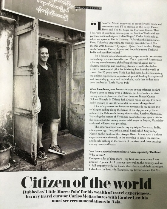 """Carlos Melia """" Citizen of the World """" by EPICURE ASIA"""